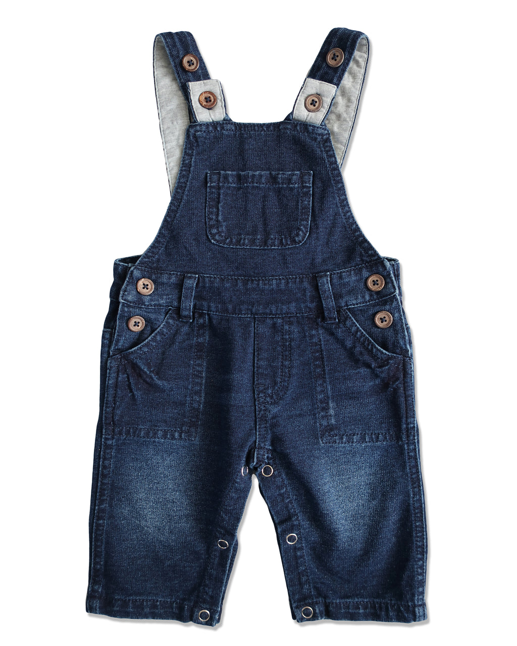 front image of blue denim effect jersey overalls for baby boy