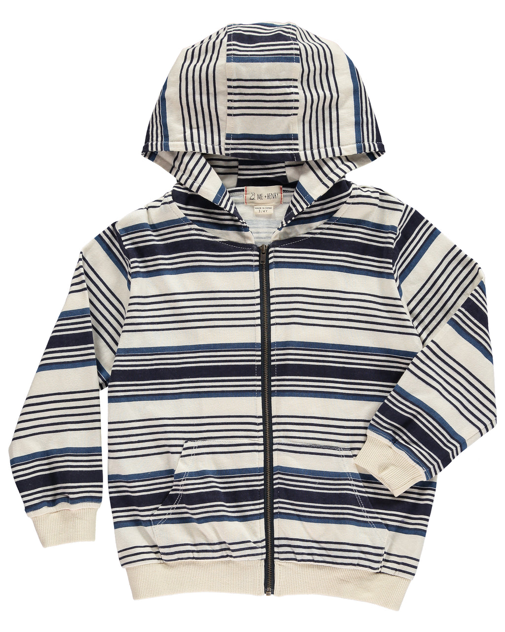 Blue Striped Hooded Top