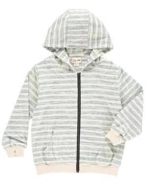 Green Striped Hooded Top