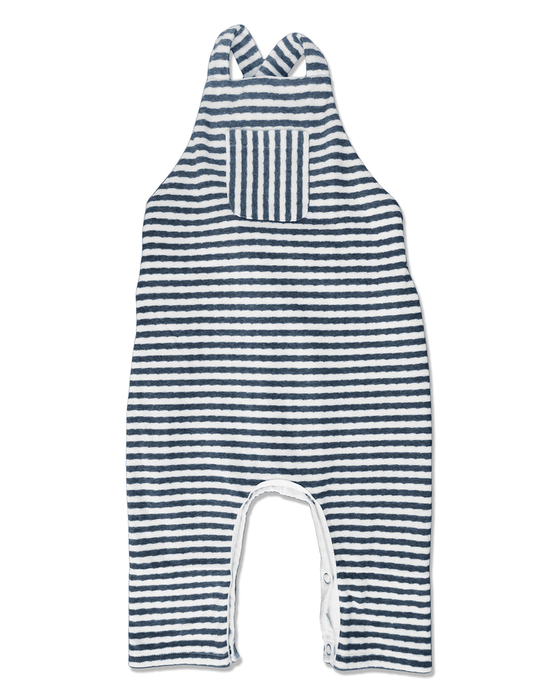 front image of striped jersey overalls for baby boy