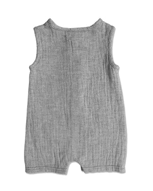 back image of grey sleeveless short legged romper for baby boy