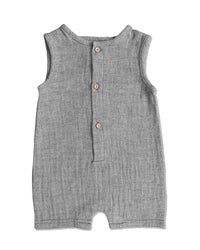 front image of grey sleeveless short legged romper for baby boy