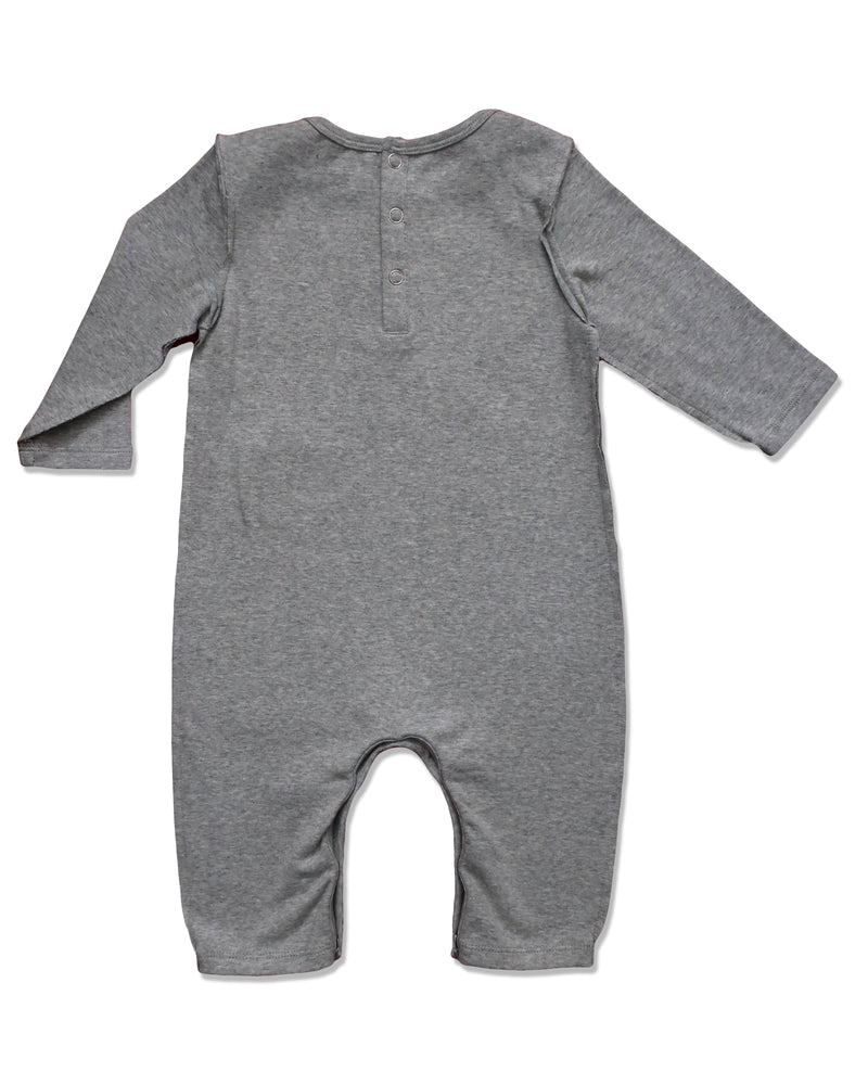 back image of baby boys grey cotton romper with raw edging and envelope neck with snaps