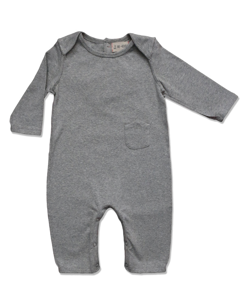 front image of baby boys grey cotton romper with raw edging and envelope neck with snaps