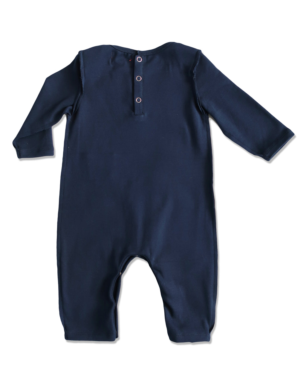 back image of baby boys navy cotton romper with raw edging and envelope neck with snaps