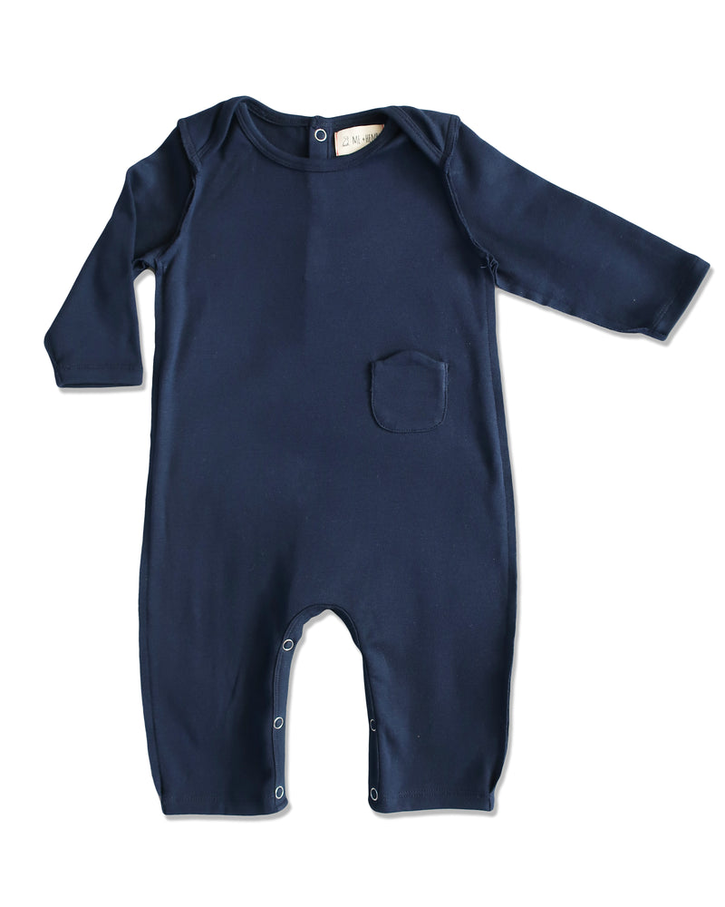 front image of baby boys navy cotton romper with raw edging and envelope neck with snaps