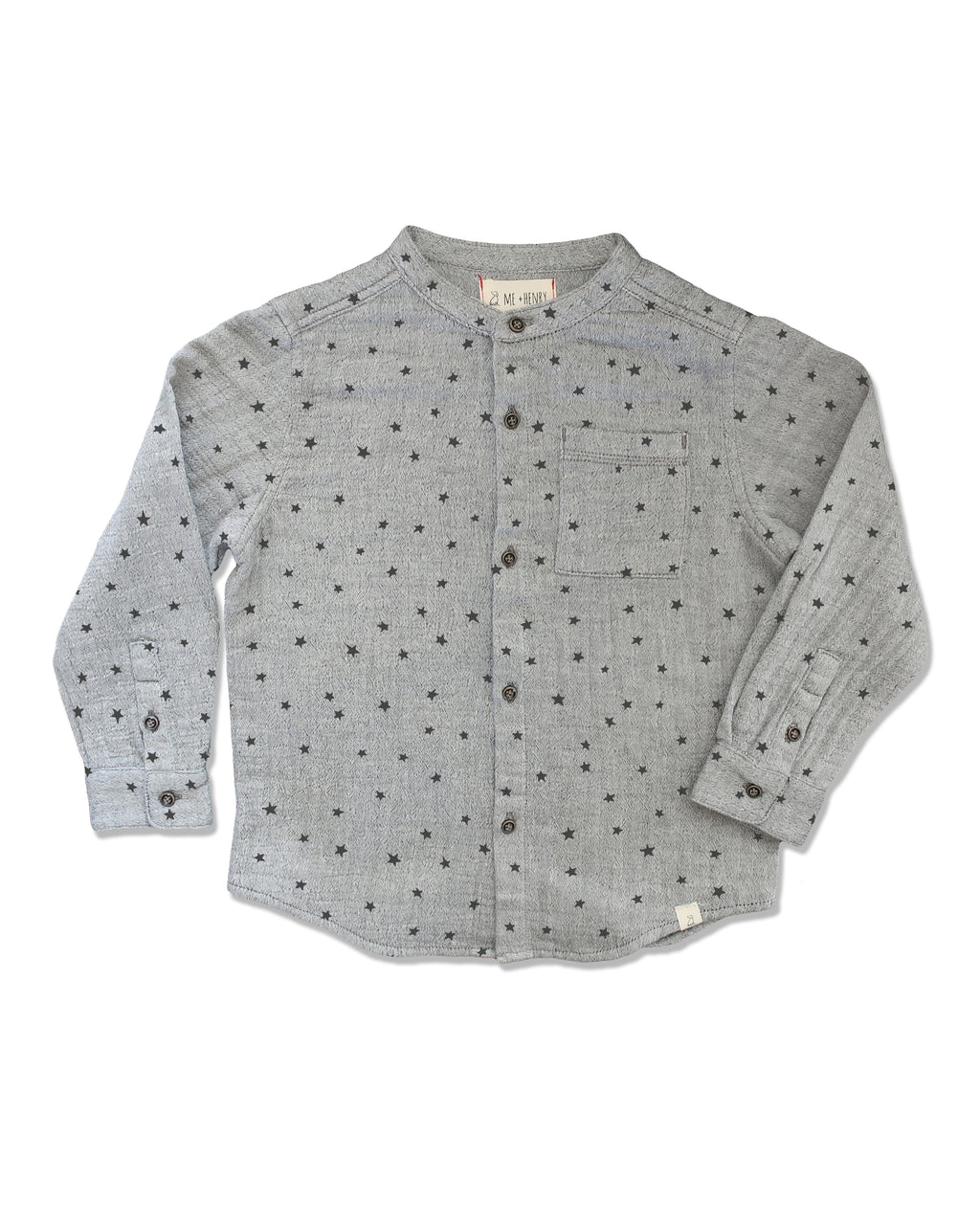 front image of round necked grey long sleeved shirt with black star print all over