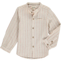 Red/beige stripe round necked shirt