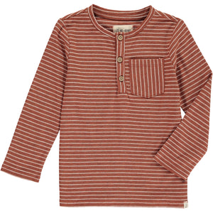 Brown stripe henley tee