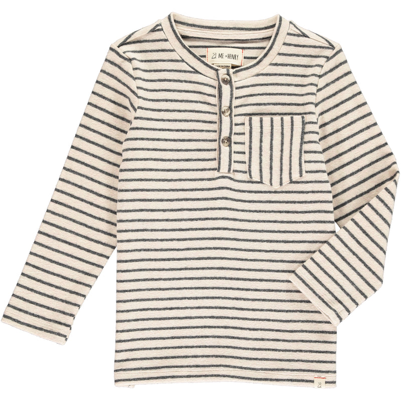 Cream/grey stripe henley tee
