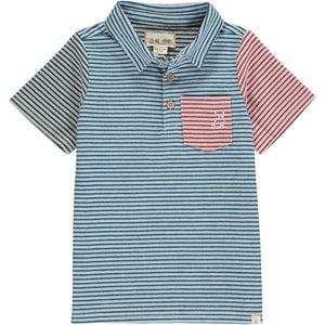 Navy/multi stripe woven polo shirt