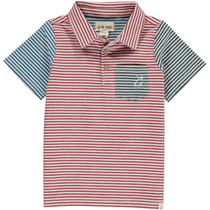 Red/multi stripe woven polo shirt