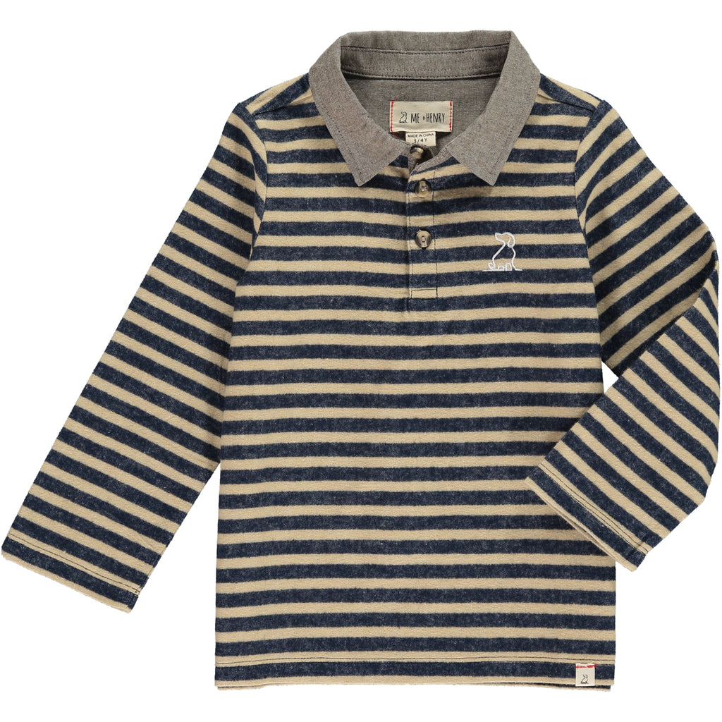 MEN'S Navy/beige stripe rugby