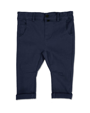front image of navy woven pants for baby boy