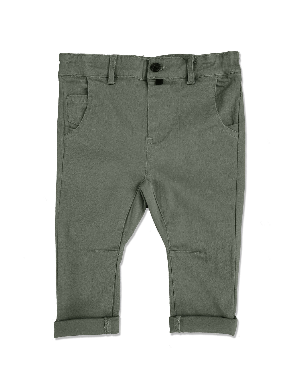 front image of olive woven pants for baby boy