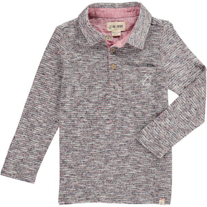 Wine/grey stripe polo