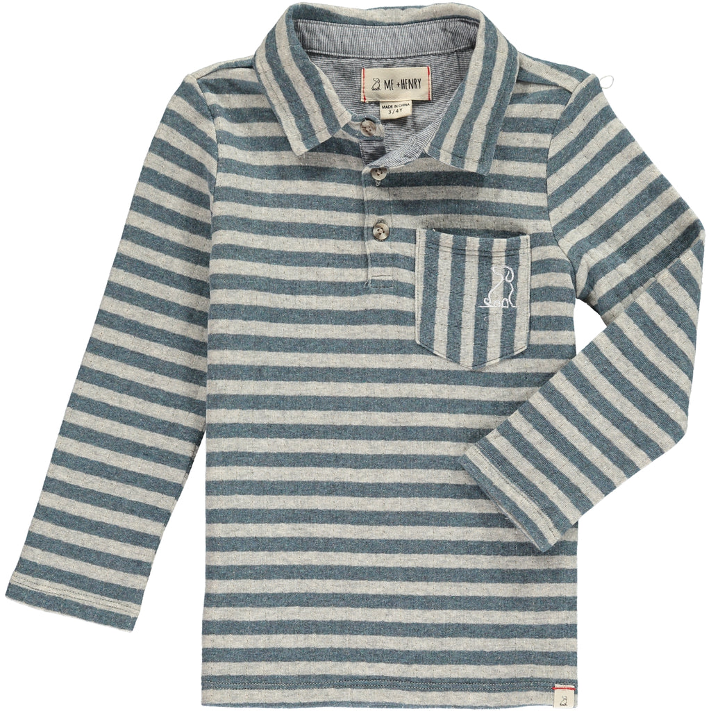 Grey stripe polo