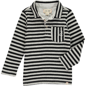 MEN'S Black/grey stripe polo