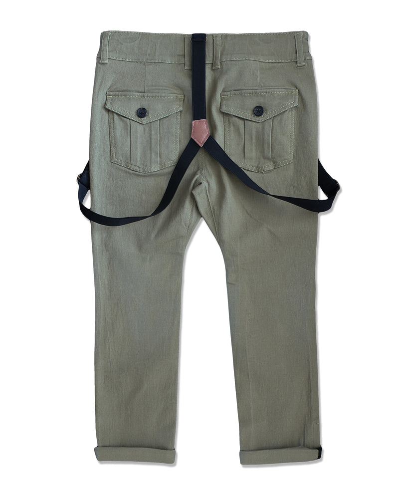 back image of boys olive stretch cotton woven pants with suspenders