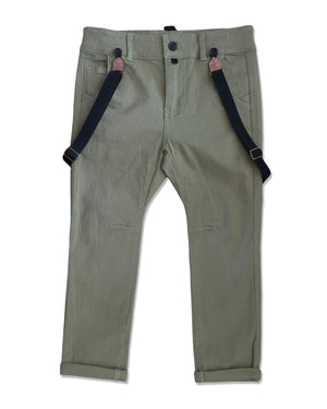 front image of boys olive stretch cotton woven pants with suspenders