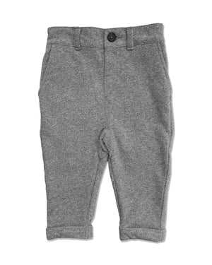 front image of grey jersey pants for boys