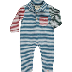 Blue multi stripe polo romper