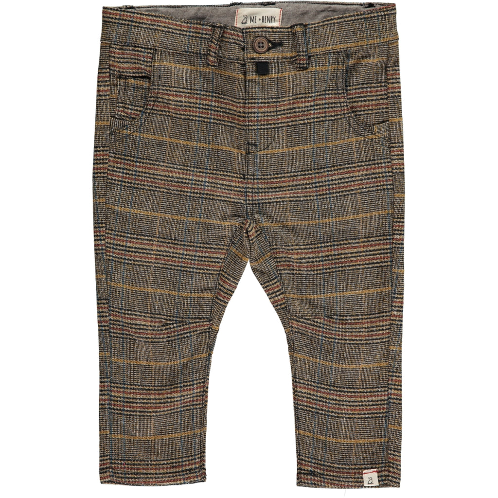 Brown check woven pants
