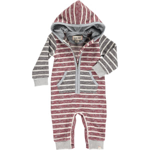 Brown stripe hooded romper