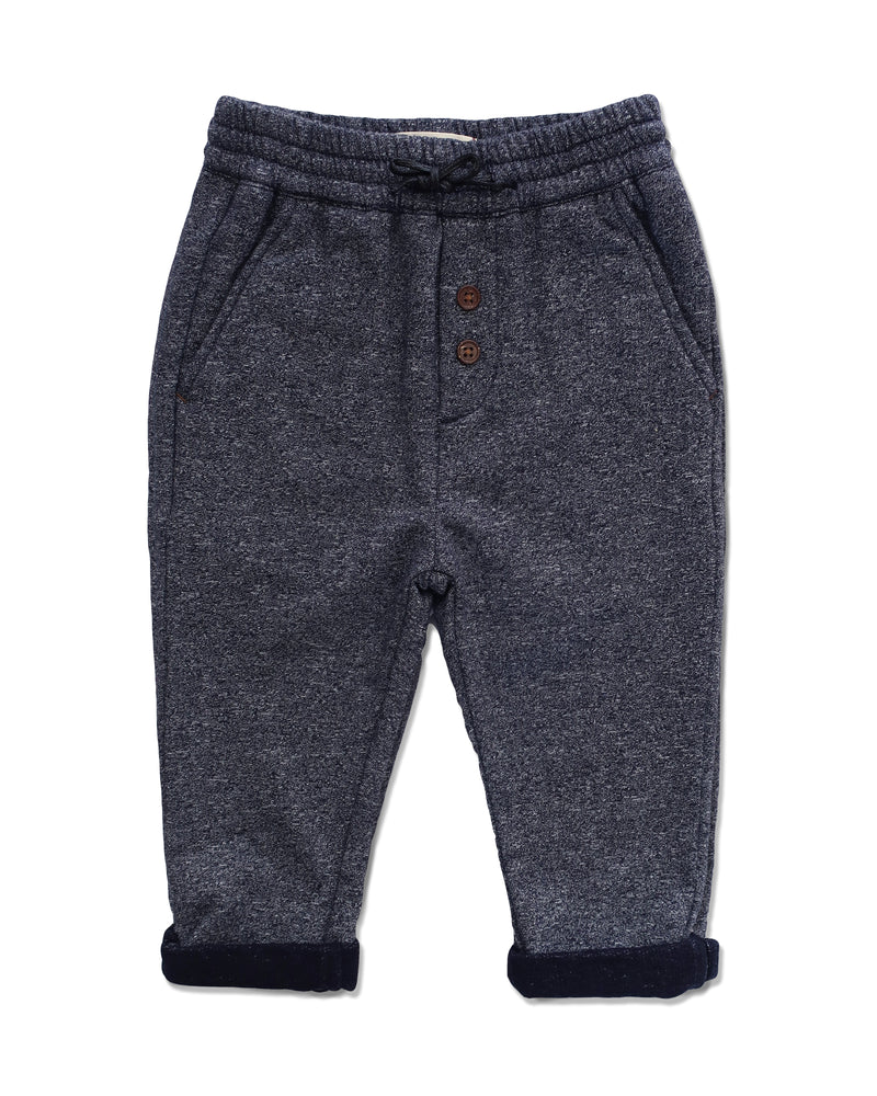 front image of blue jersey pants for boys