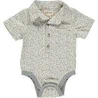 Grey floral woven fabric onesie.
