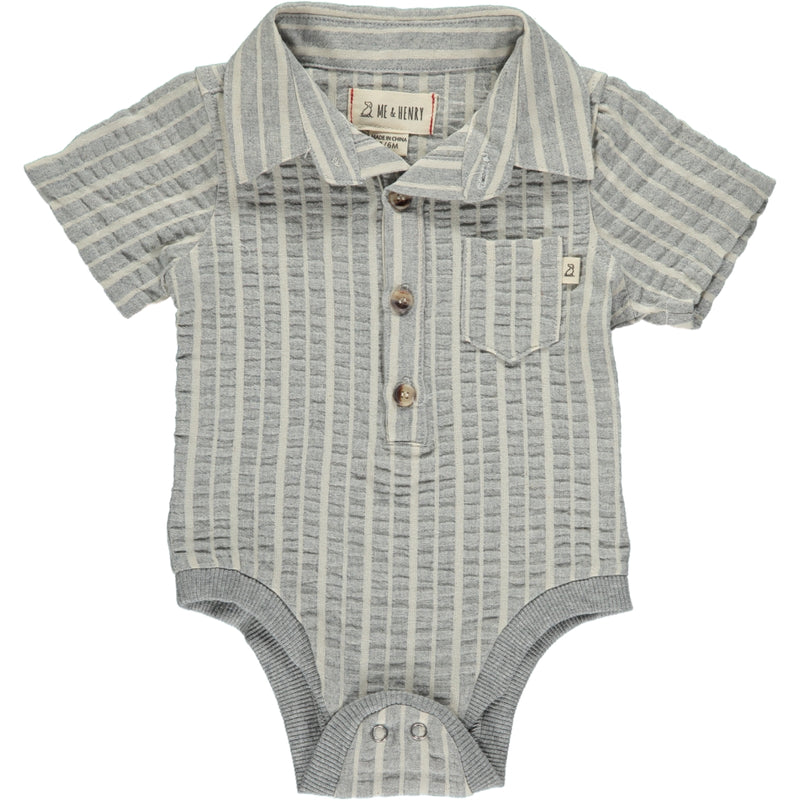 Grey/cream stripe woven onesie