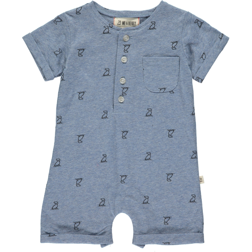 Blue Henry dog print romper