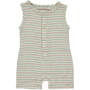 Green/beige stripe woven playsuit