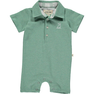 Green cotton pique polo romper
