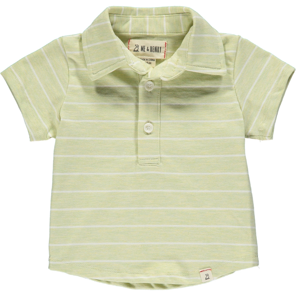 Lime/white stripe polo