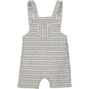Grey/white woven shortie overalls