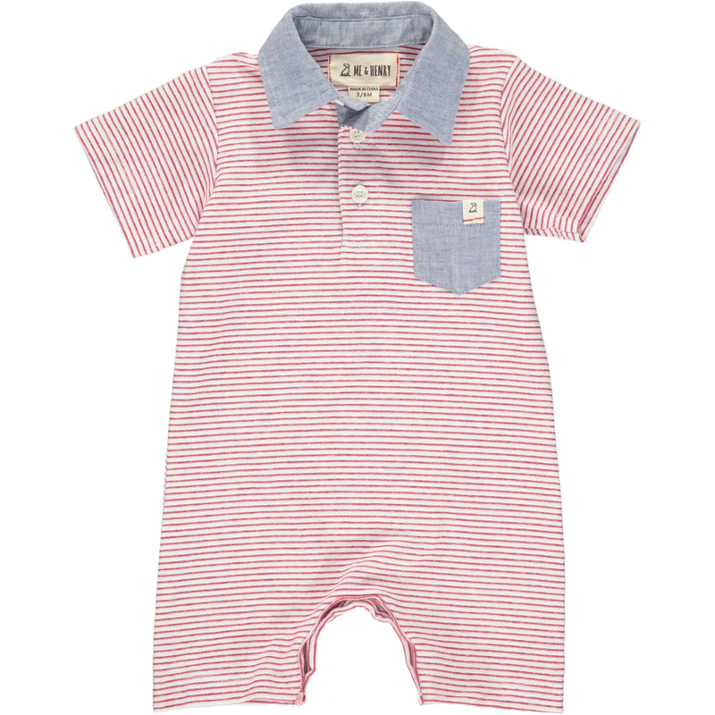 Red stripe polo romper