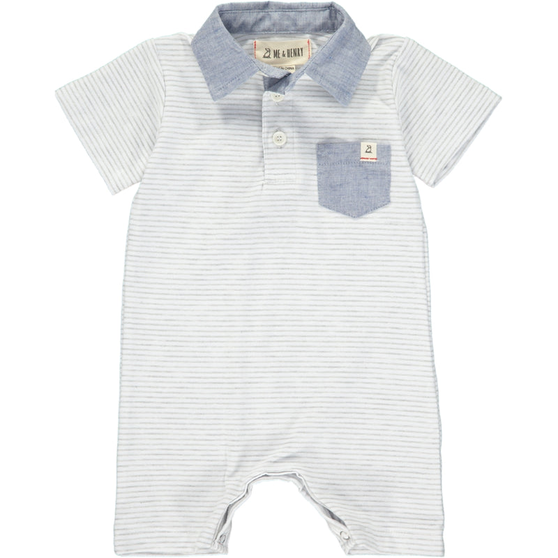 Grey stripe polo romper