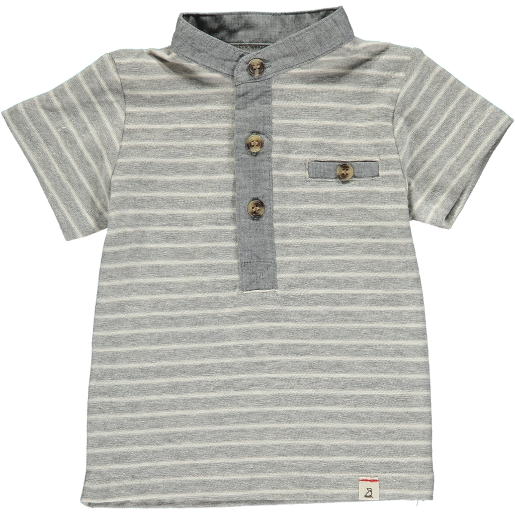 MEN'S Grey/white stripe henley