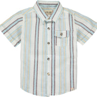 Blue/beige stripe linen mix shirt