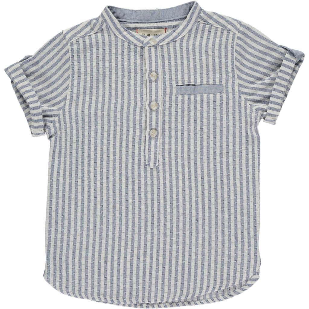 Blue/white stripe round neck shirt