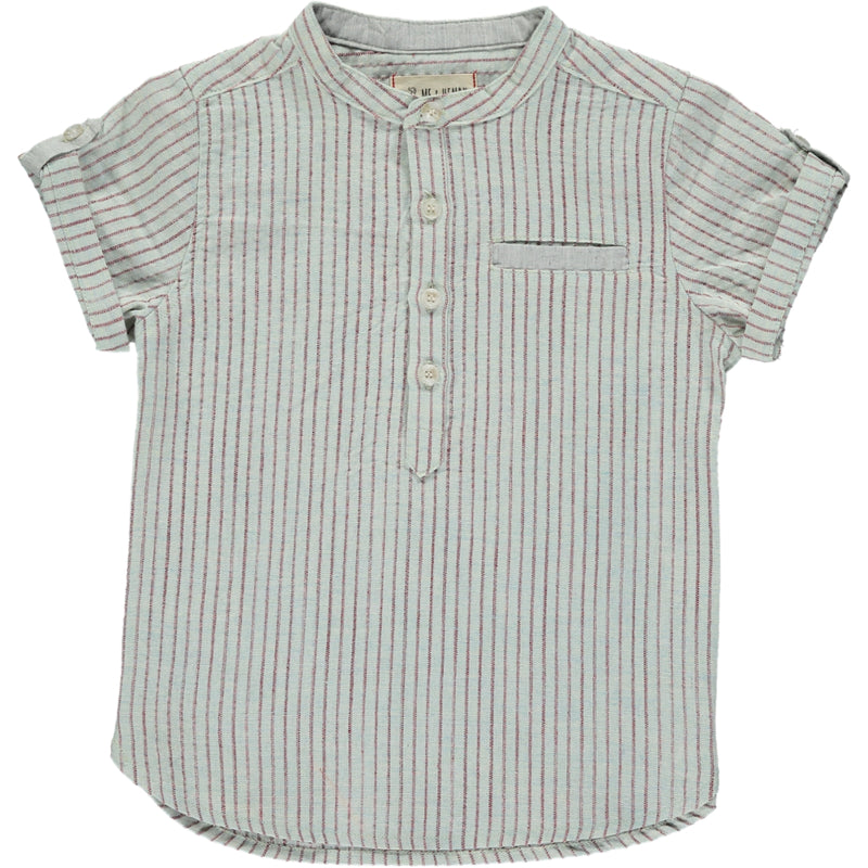 Aqua/red stripe round neck shirt