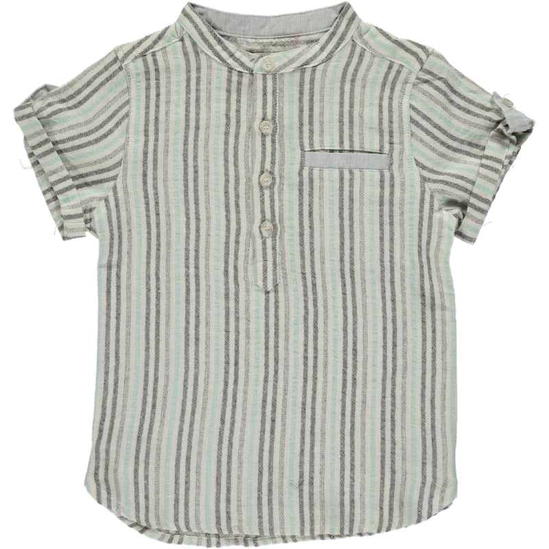 Aqua/charcoal stripe round neck shirt
