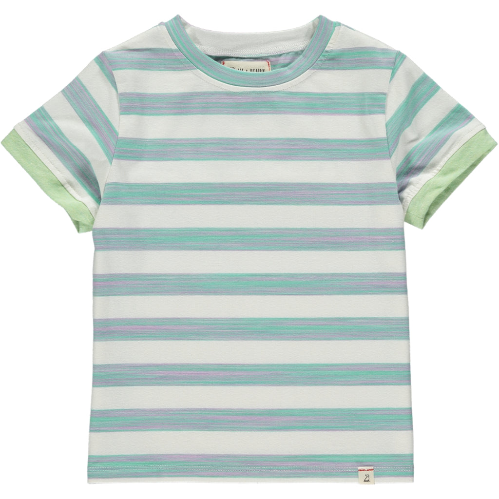 Green/white stripe tee