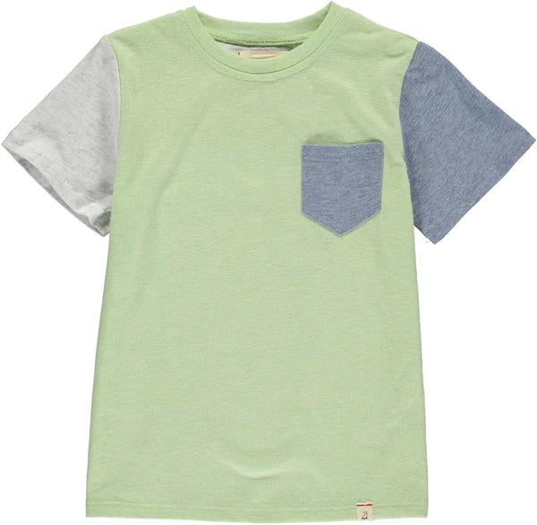 Lime colour block tee