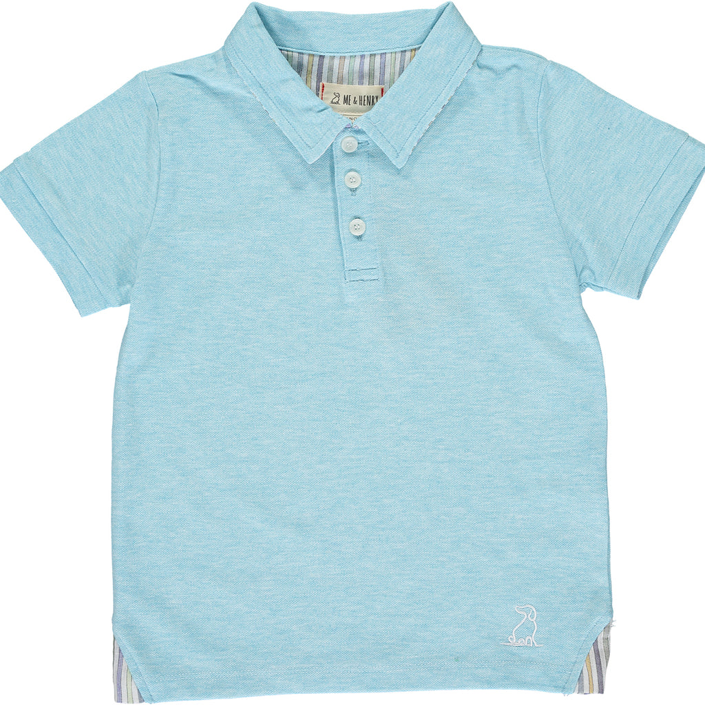 Aqua cotton pique polo