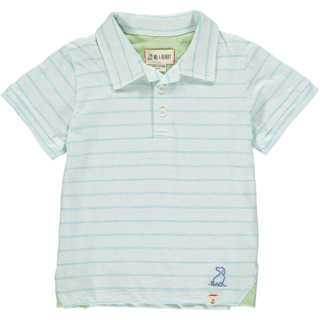 Aqua/white cotton slub polo