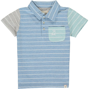MEN'S Blue/white stripe polo