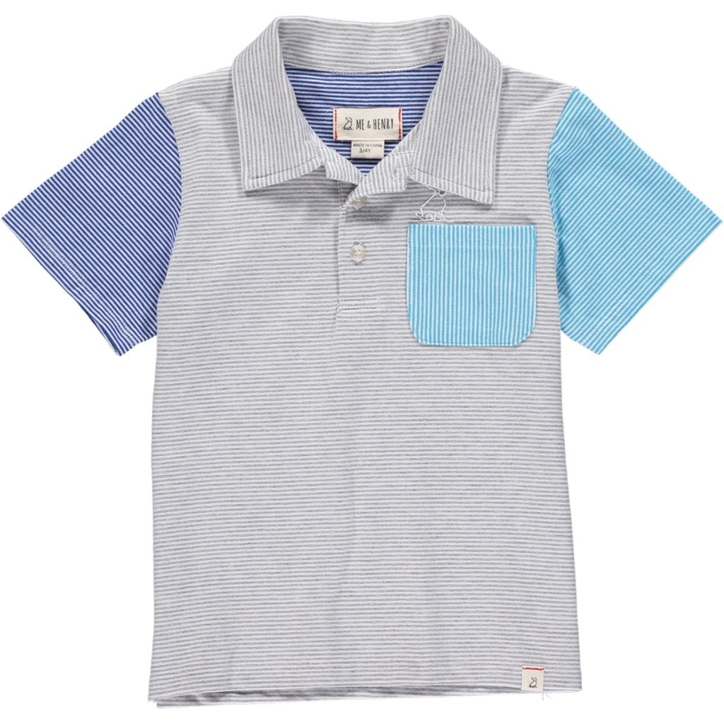 Grey/white/blue stripe polo