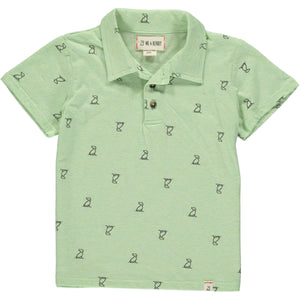 MEN'S Lime henry dog print polo
